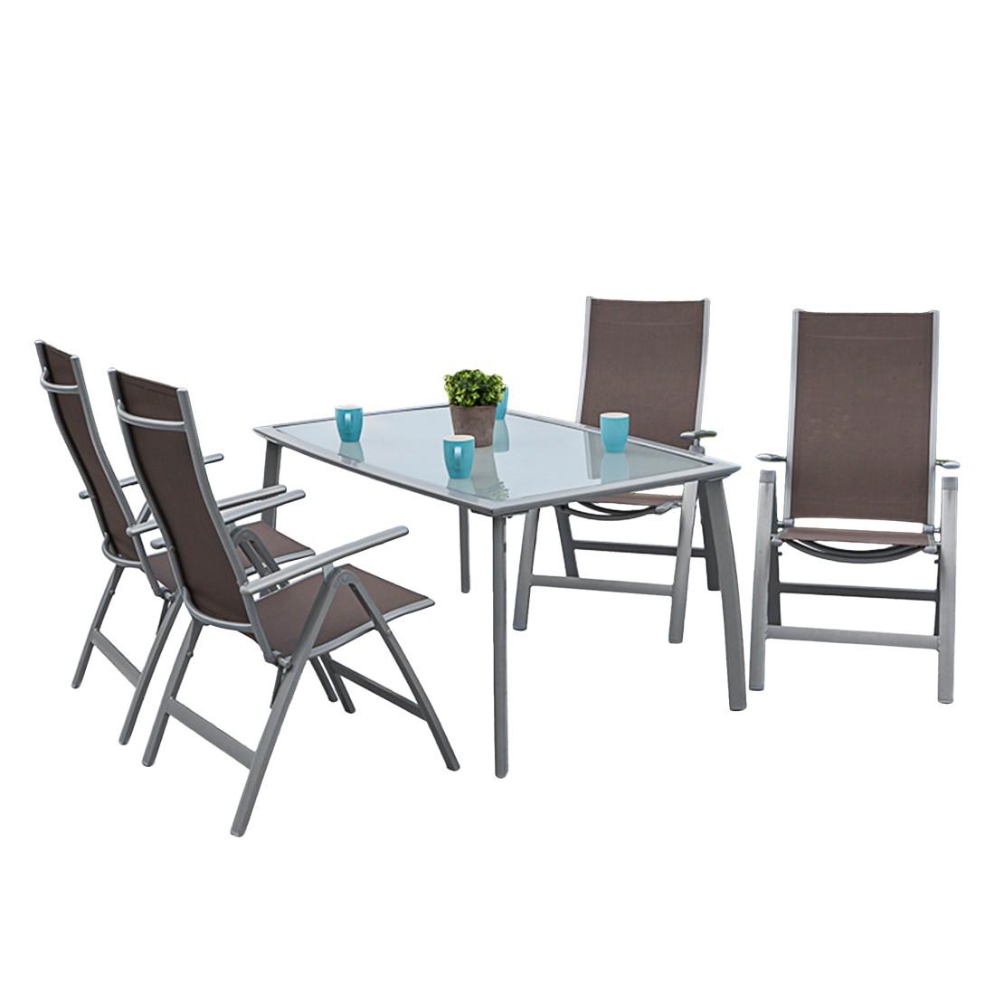 home24 Gartenessgruppe Carrara III (5-teilig)   Garten > Gartenmöbel > Gartenmöbel-Set   Grau   Glas - Metall   Merxx