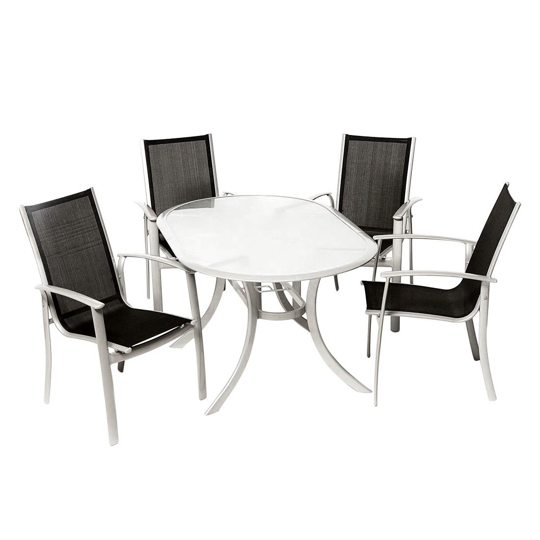 Gartensitzgruppe Carrara V (5-teilig) | Garten | Schwarz | Glas - Metall | Merxx