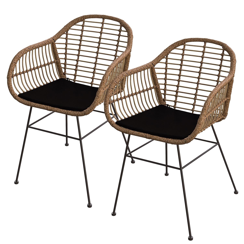 Chaise de jardin Kalo (lot de 2) - Polyrotin / Acier - Marron / Noir, ars manufacti