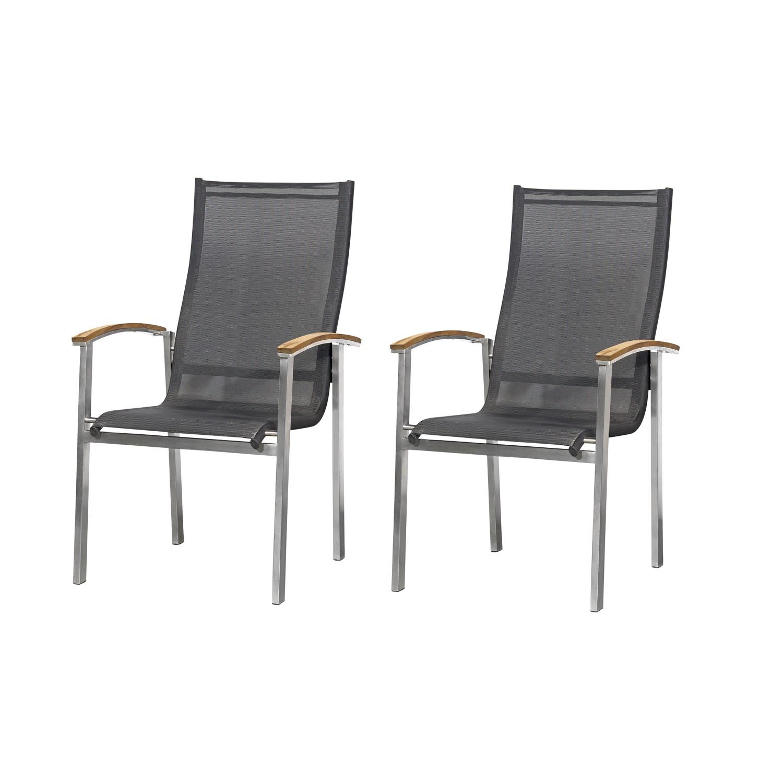 Chaise de jardin Teakline Exclusif (lot de 2) - Textilène / Acier inoxydable, Studio Copenhagen