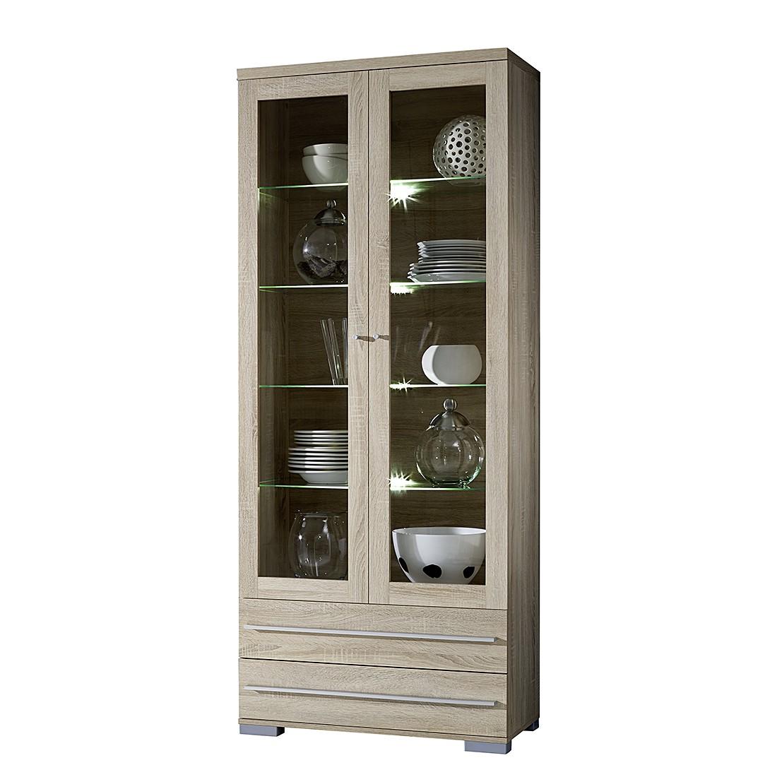 home24 Glasvitrine Tournai | Wohnzimmer > Vitrinen > Glasvitrinen | Beige | Holz | loftscape