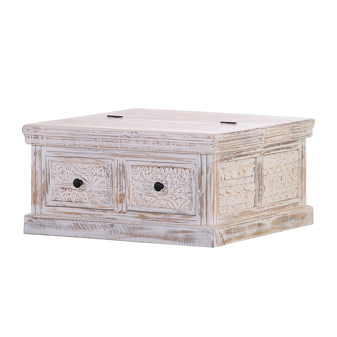 Table basse Madhya - Manguier partiellement massif Blanc, Red Living