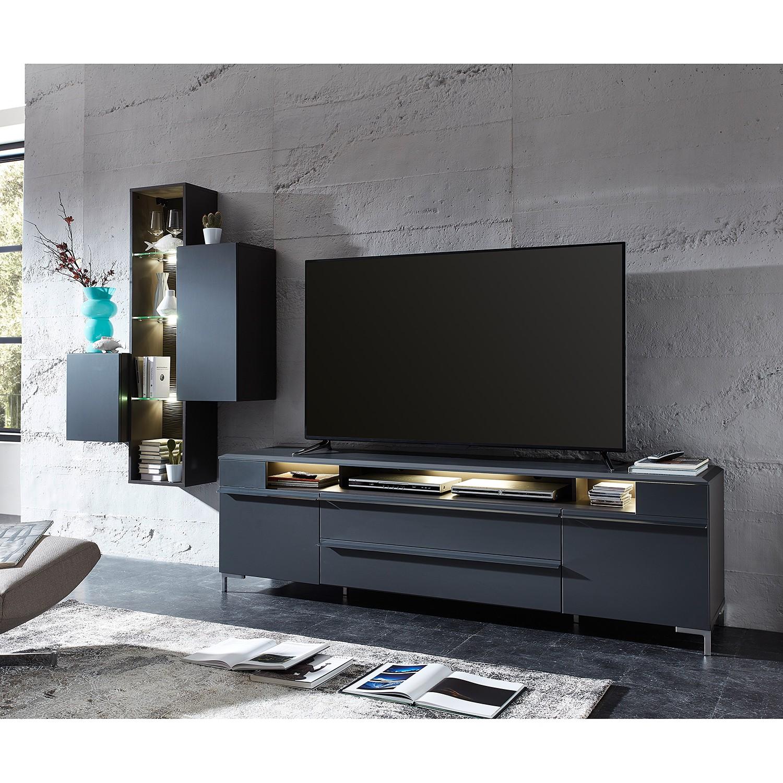 home24 Haengeregal Cupar (inkl. Beleuchtung) | Wohnzimmer > Regale > Hängeregale | Grau | loftscape