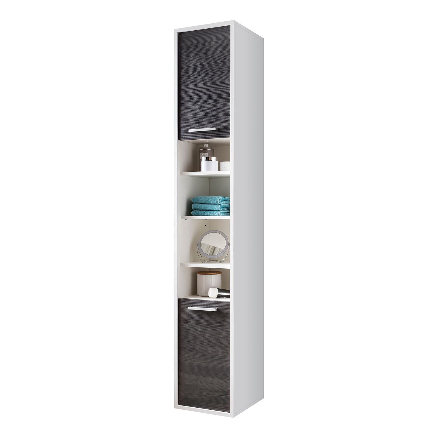 Armoire colonne Manado - Imitation pin anthracite / Blanc, mooved