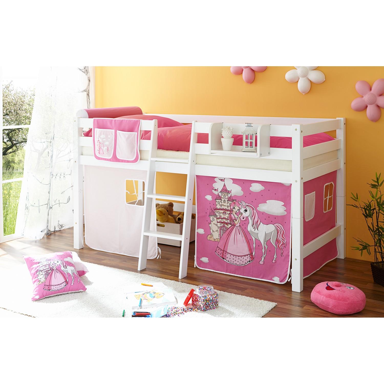 home24 Halbhochbett Tipsi | Kinderzimmer > Kinderbetten | Weiss | Massivholz | Ticaa