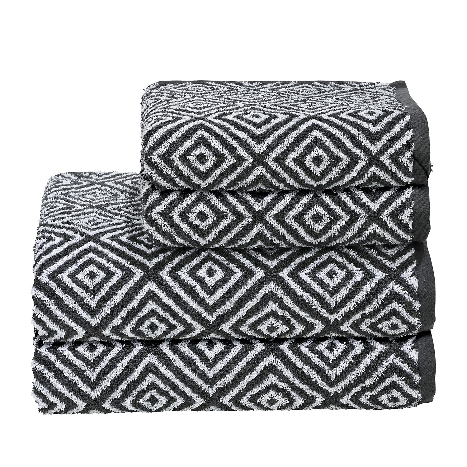 Handtuchset Day Diamond II (4-teilig) | Bad > Handtücher > Handtuch-Sets | Grau | Textil | twentyfour