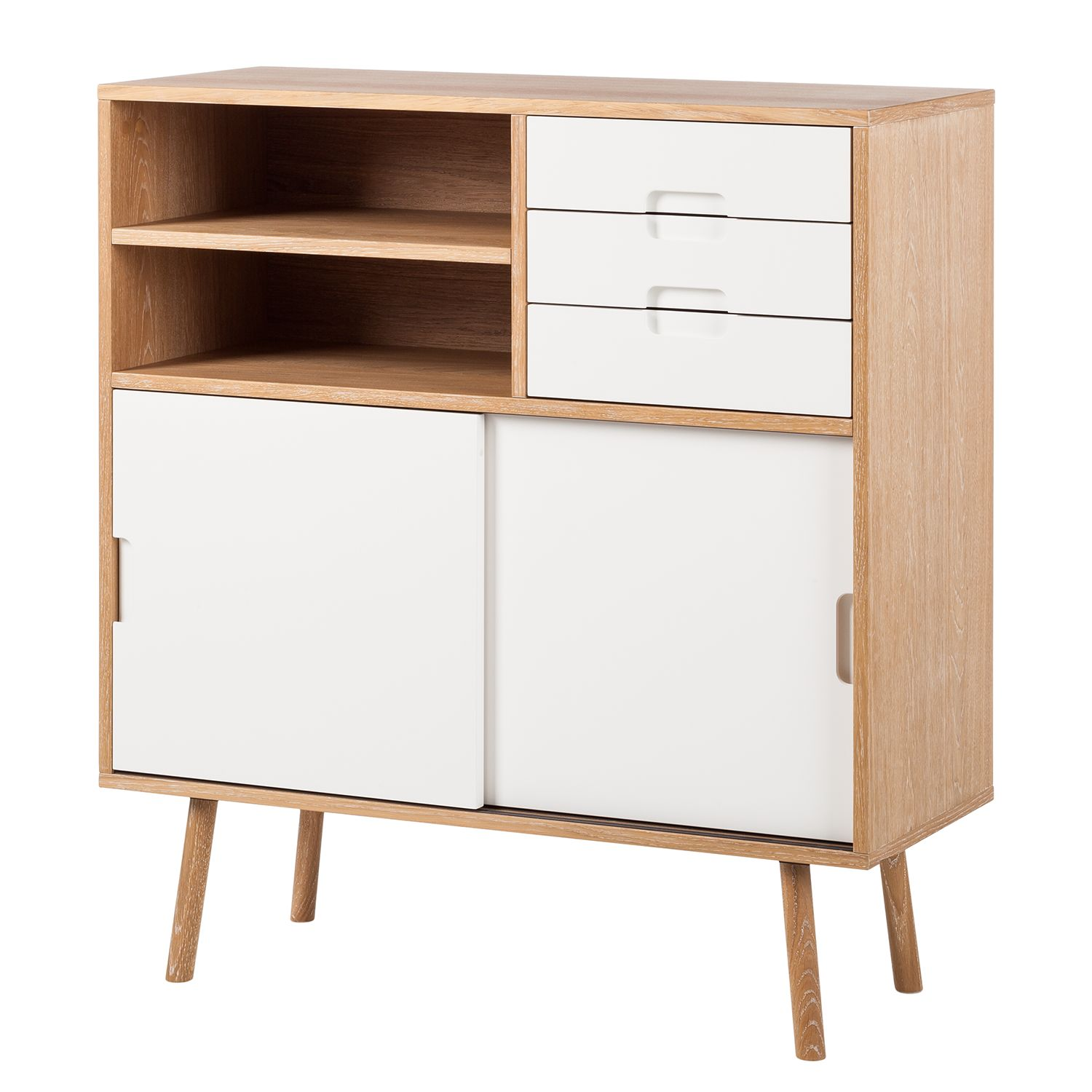 Highboard Verwood II - Eiche / Weiß