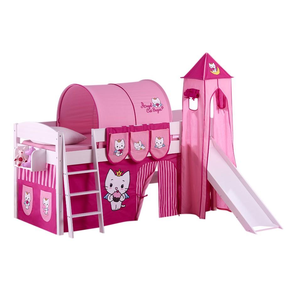 Lit mezzanine ludique IDA Angel Cat Sugar - Lit mezzanine évolutif - Avec rideaux, tour et toboggan - Blanc, Lilokids