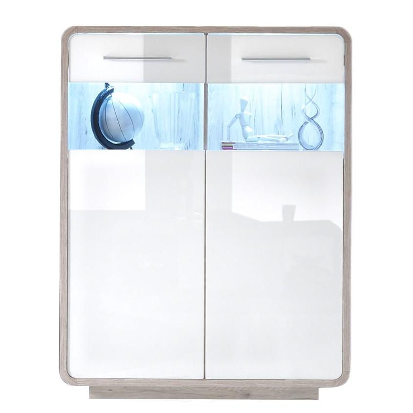 EEK A+, Commode haute Lerida (éclairage fourni) - Blanc brillant / Imitation chêne sablé, roomscape