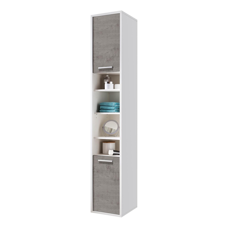 Armoire colonne Manado - Imitation béton / Blanc, mooved