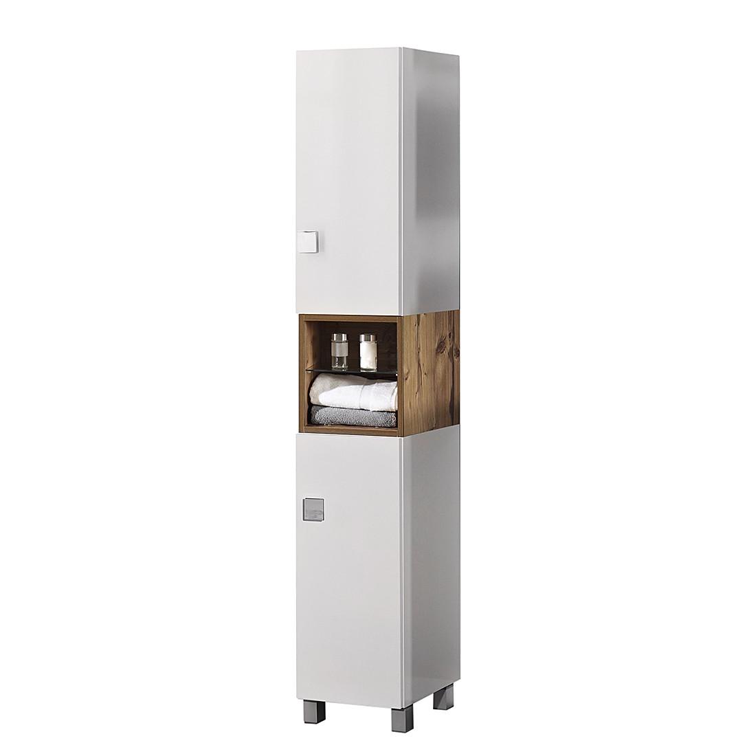 Image of Armadietto alto Toronto - Bianco lucido/Effetto legno di abete argentato, Schildmeyer