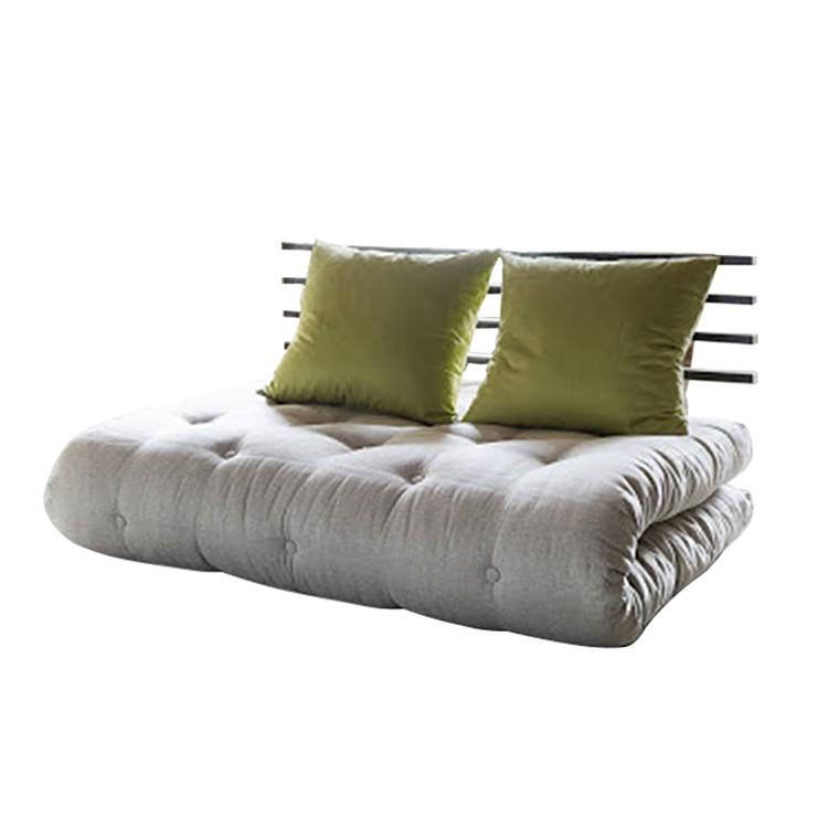 Slaapbank Shin Sano futon beige groen matras 6 lagen katoen en 4cm schuimstof, Karup