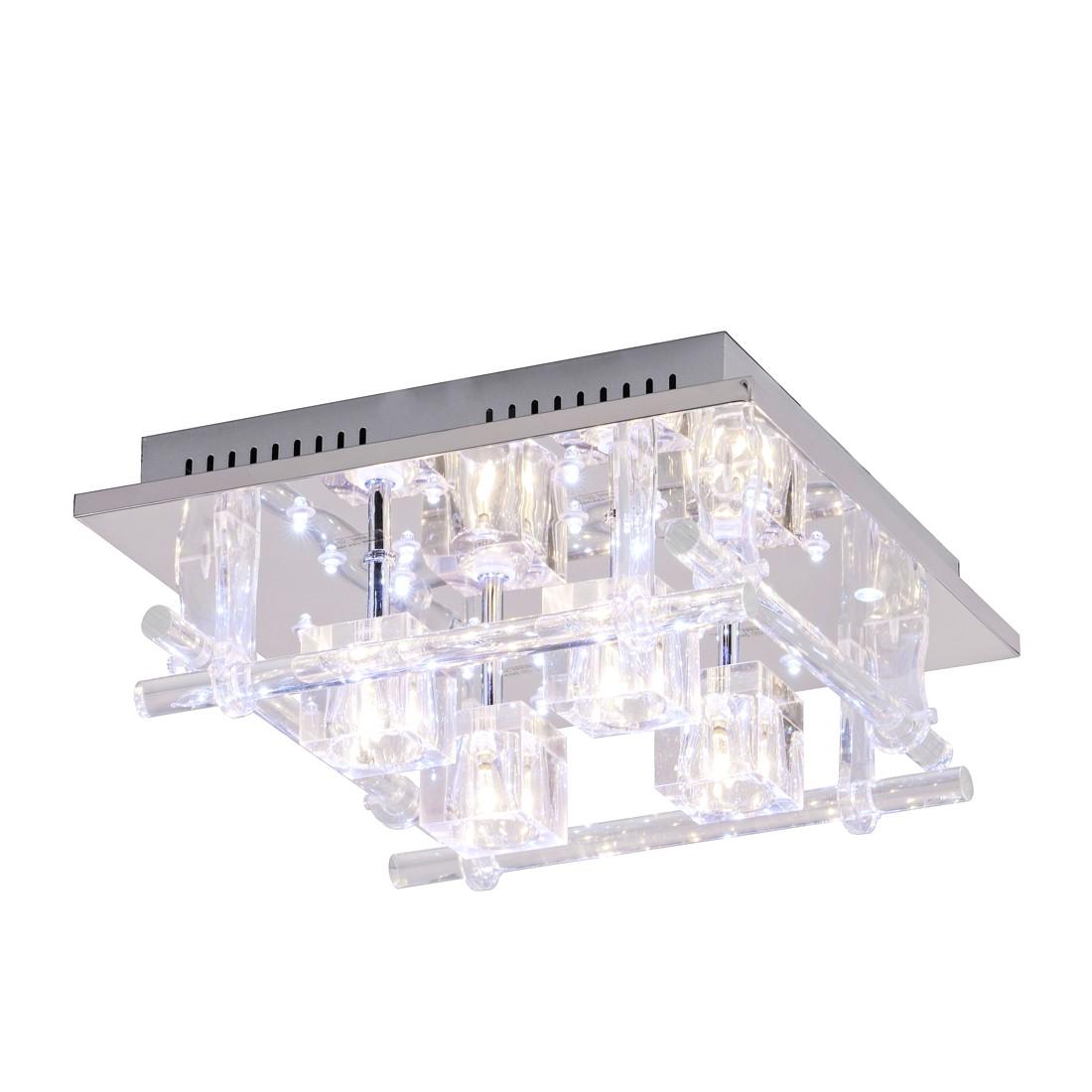 EEK B, Plafonnier LED Kemal - Métal / Verre Argenté, Leuchten Direkt