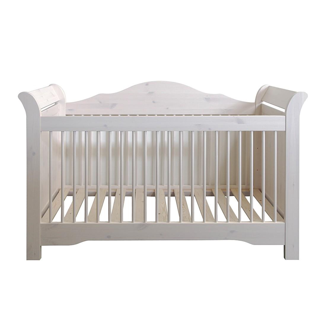 Letto per bambini Karlotta - Legno di pino massello/ Bianco Shabby - White Washed, Steens