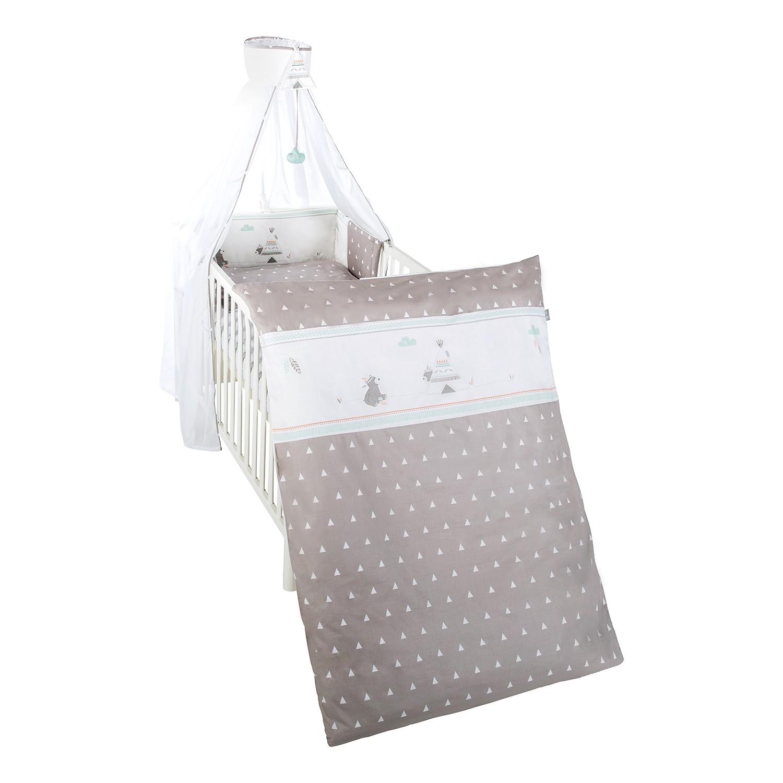 Kinderbettset Indibär (4-teilig) - Baumwollstoff - Taupe / Weiß bei Home24 - Möbel