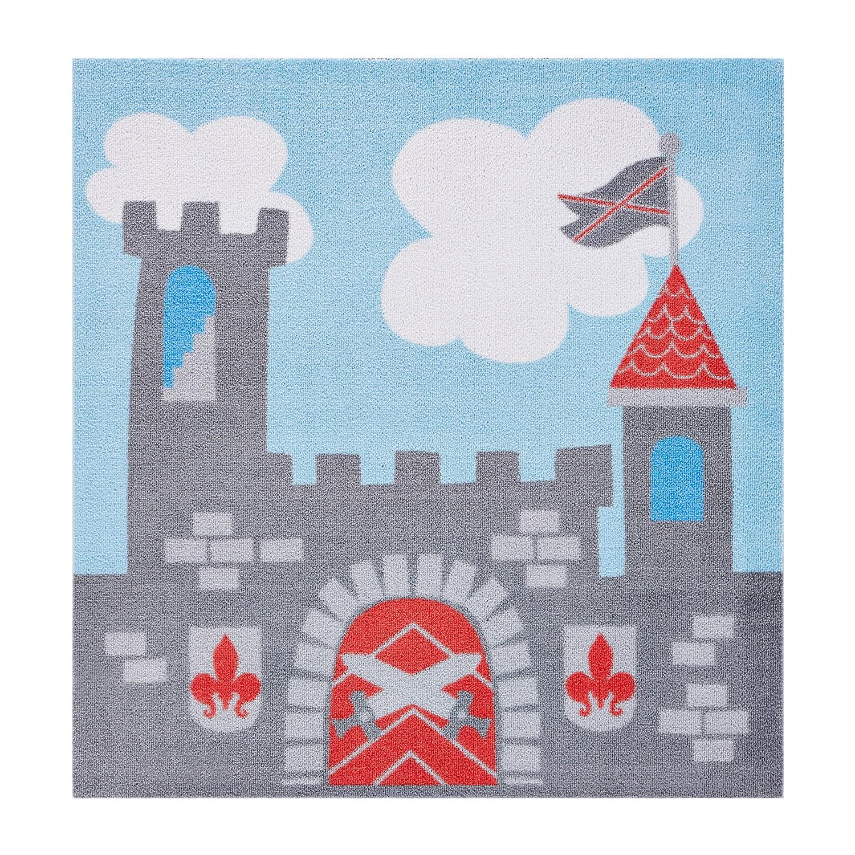 Kinderteppich Ritterburg | Kinderzimmer > Textilien für Kinder > Kinderteppiche | Blau | Textil | Top Square