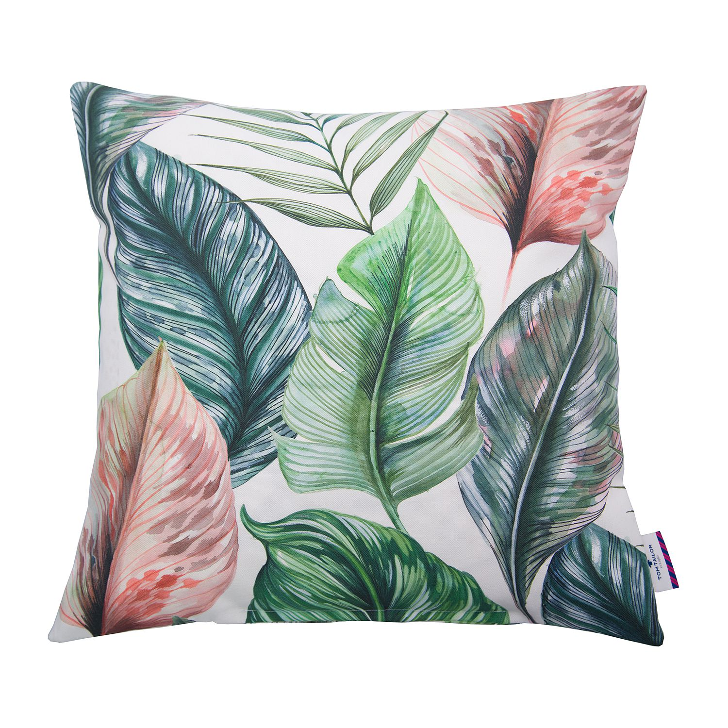 housse de coussin t colored leaves coton vert blanc tom