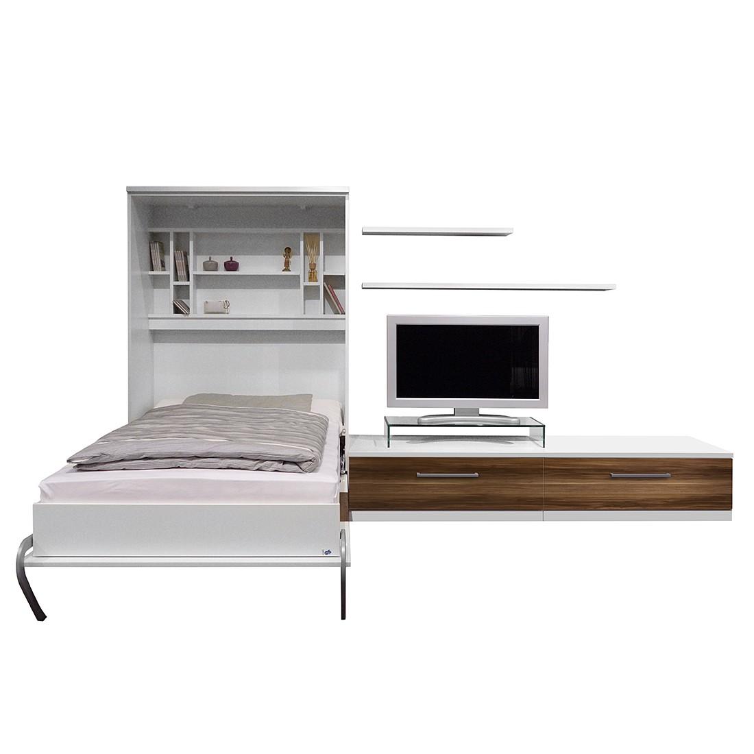 goedkoop Wandklapbed combinatie Majano 110 x 205cm Bonell binnenveringmatras Wit notenboomhouten look Fredriks