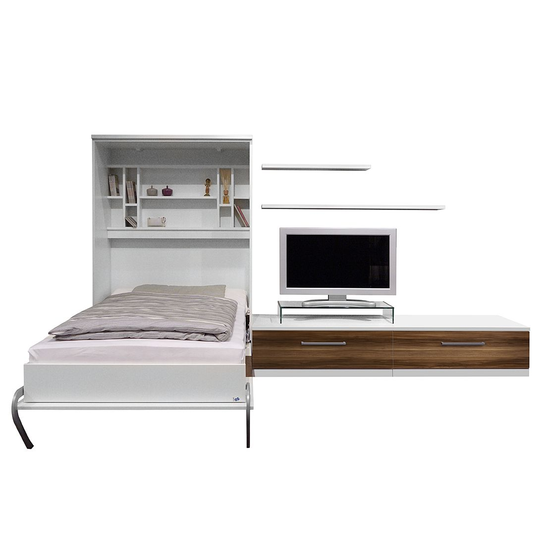 goedkoop Wandklapbed combinatie Majano 160 x 205 cm Bonell binnenveringmatras Wit notenboomhouten look Fredriks