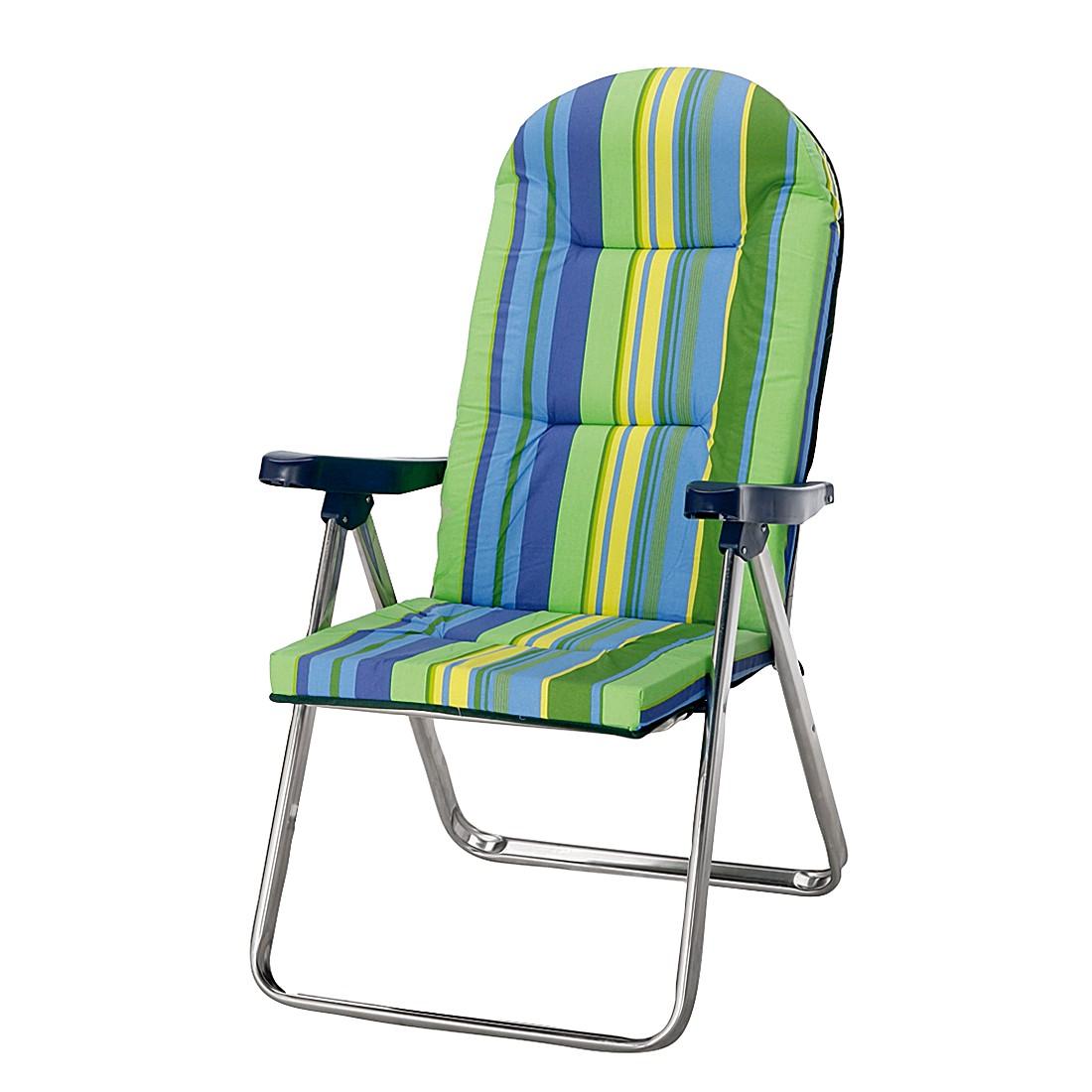 Poltrona pieghevole Nizza - Alluminio/Tessuto Color argento/Verde-Blu, Best Freizeitmöbel