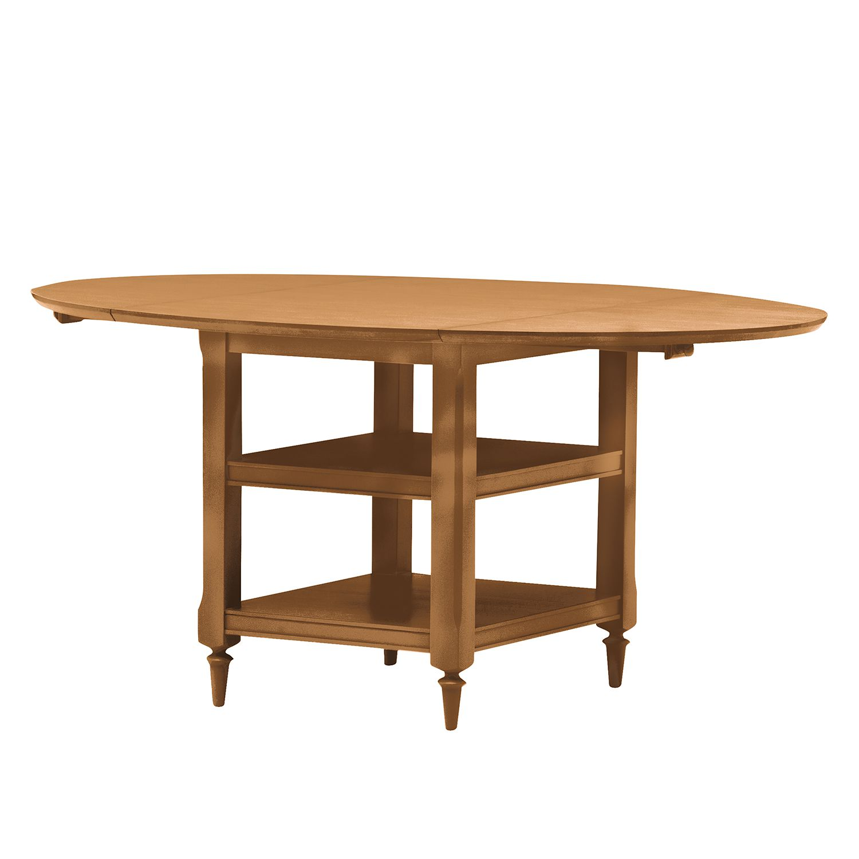 home24 Ridgevalley Klapptisch Sollerön Holz Teilmassiv Oval Honig 121x77x75 cm (BxHxT) Landhaus Klappbar für 2-4 Personen