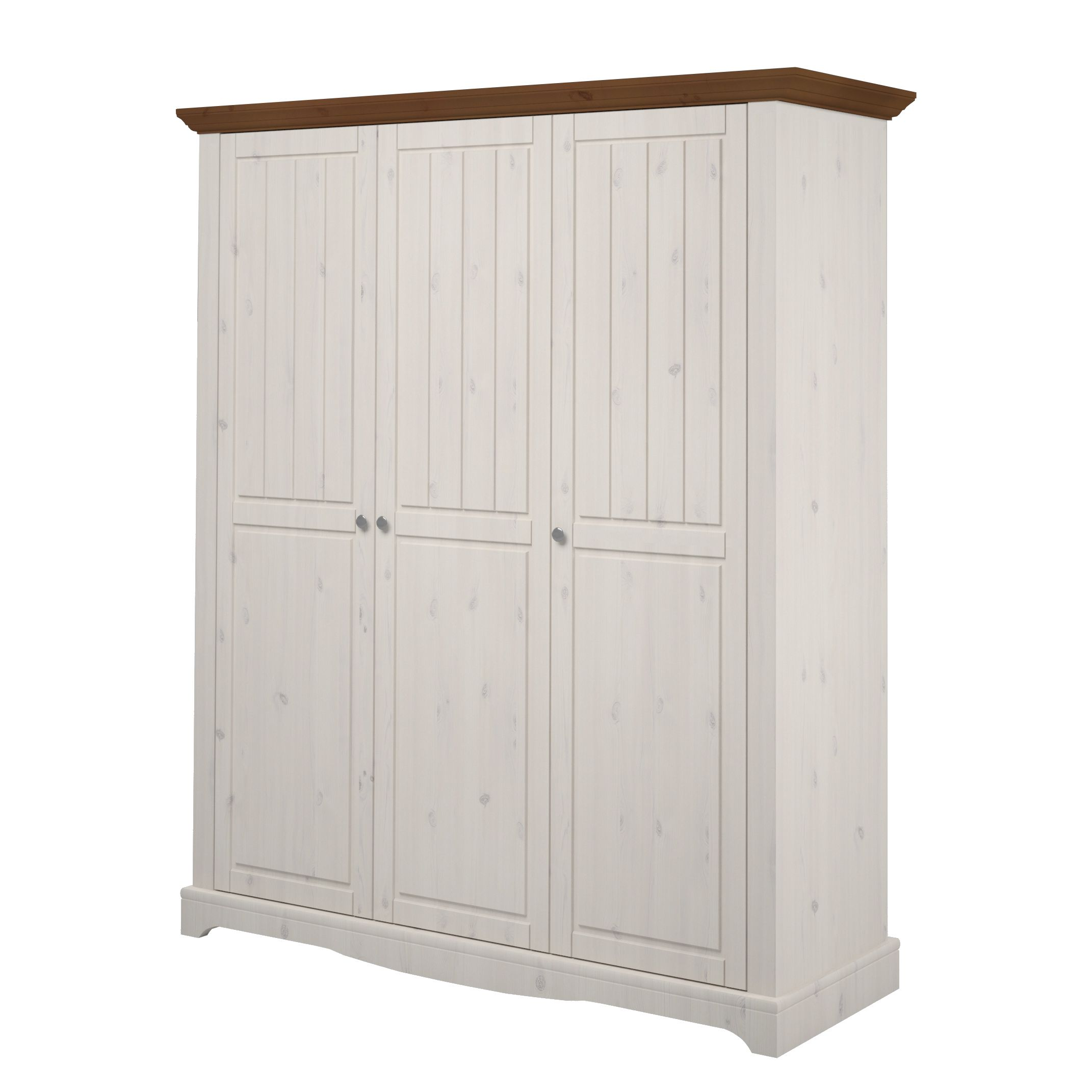 Armoire à vêtements Karlotta (3 portes) - Pin / Blanc lavé - White Washed / Provence, Steens