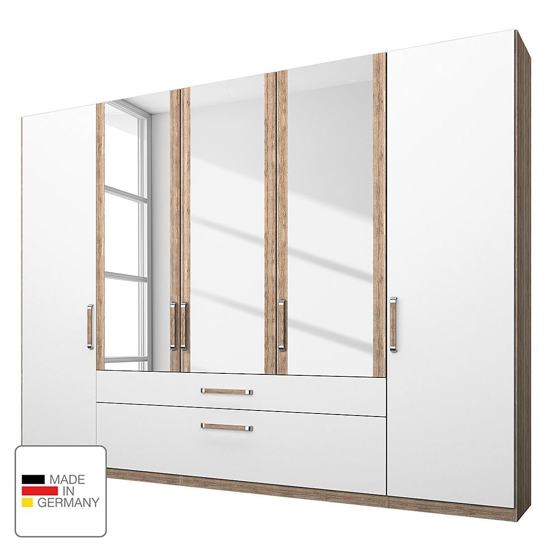 goedkoop Kledingkast Lea met lades Lichte San Remo eikenhouten look alpinewit 250cm 5 deurs 3 spiegeldeuren Rauch Dialog