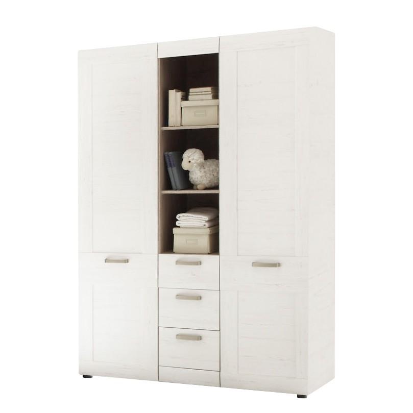 goedkoop Kledingkast Batu 2 deurs witte gestructureerde pijnboomhouten look Trendteam