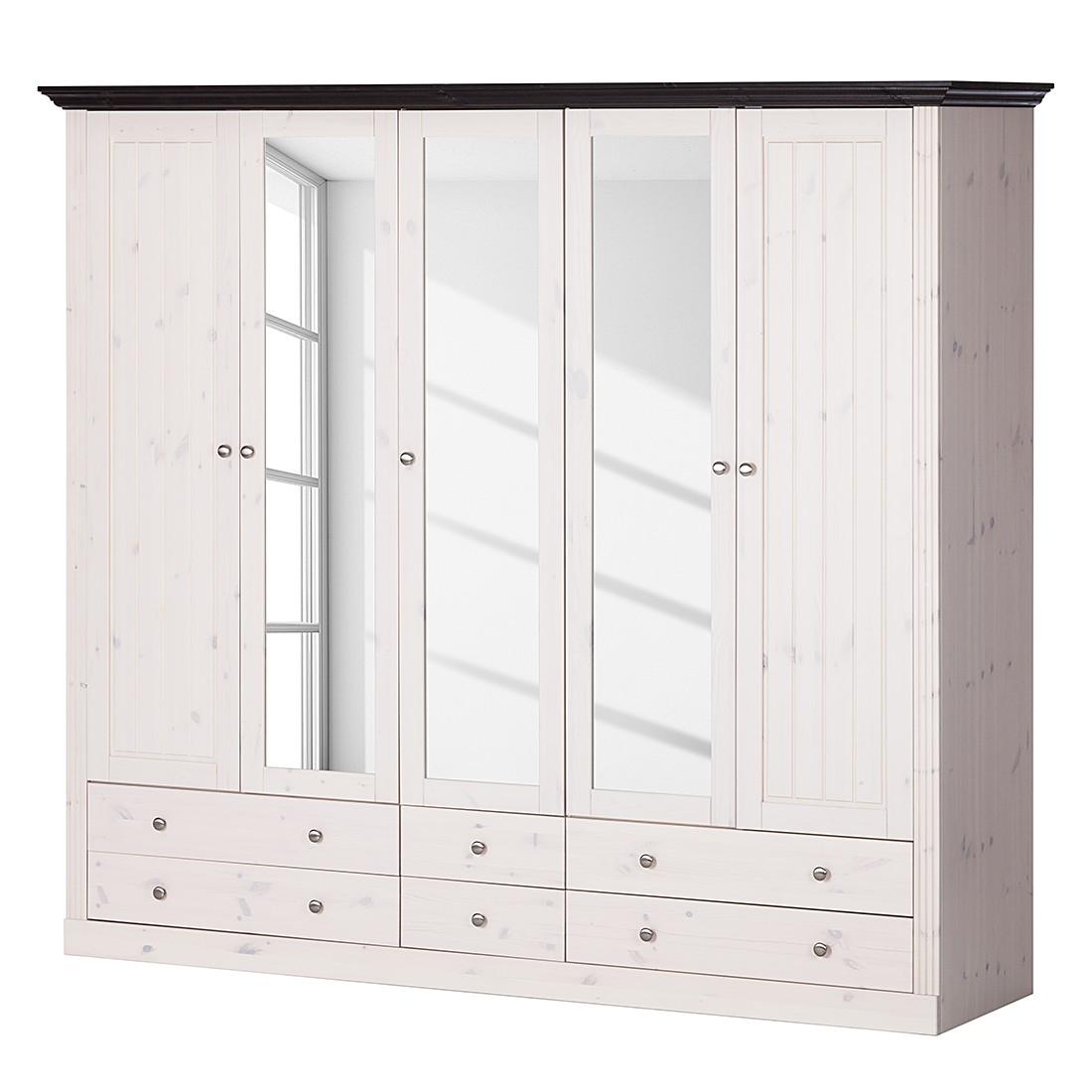 goedkoop Kledingkast Lyngby I massief grenenhout wit steengrijs Wit wengéhout Maison Belfort
