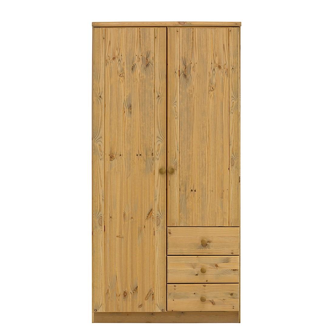 goedkoop Kledingkast Ribe Natuurlijk geloogd & Gebeitst beukenhouten walnoot grenenhout 100cm 2 deurs Steens