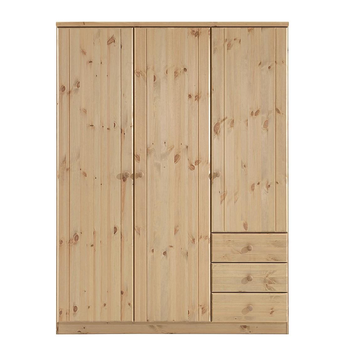 goedkoop Kledingkast Ribe Natuurlijk geloogd & Gebeitst beukenhouten walnoot grenenhout 150cm 3 deurs Steens