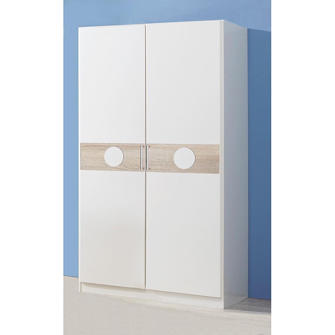 Armoire à vêtements Simba I - Blanc alpin / Chêne brut de sciage Largeur : 90 cm - 2 portes - Sans séparation centrale, Wimex