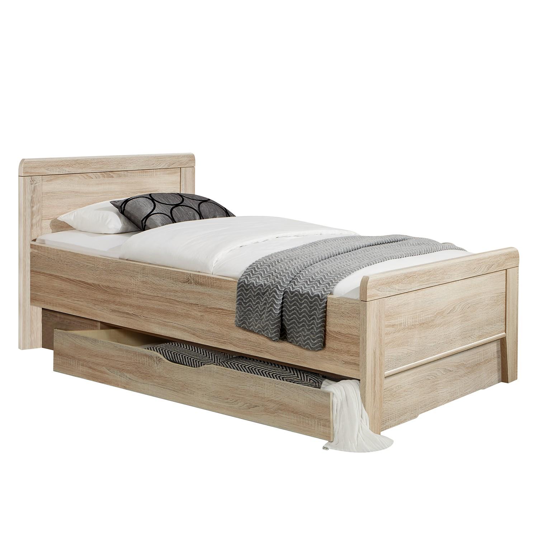goedkoop Comfortbed I Meran grof gezaagde eikenhouten look 100 x 200cm Met bedlade Wiemann