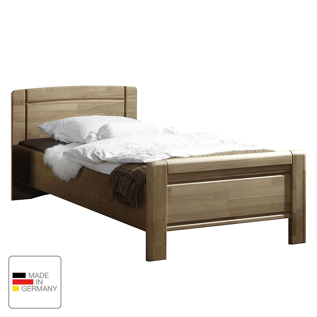 goedkoop Bed Münster deels massief eikenhout 120 x 190cm Wiemann