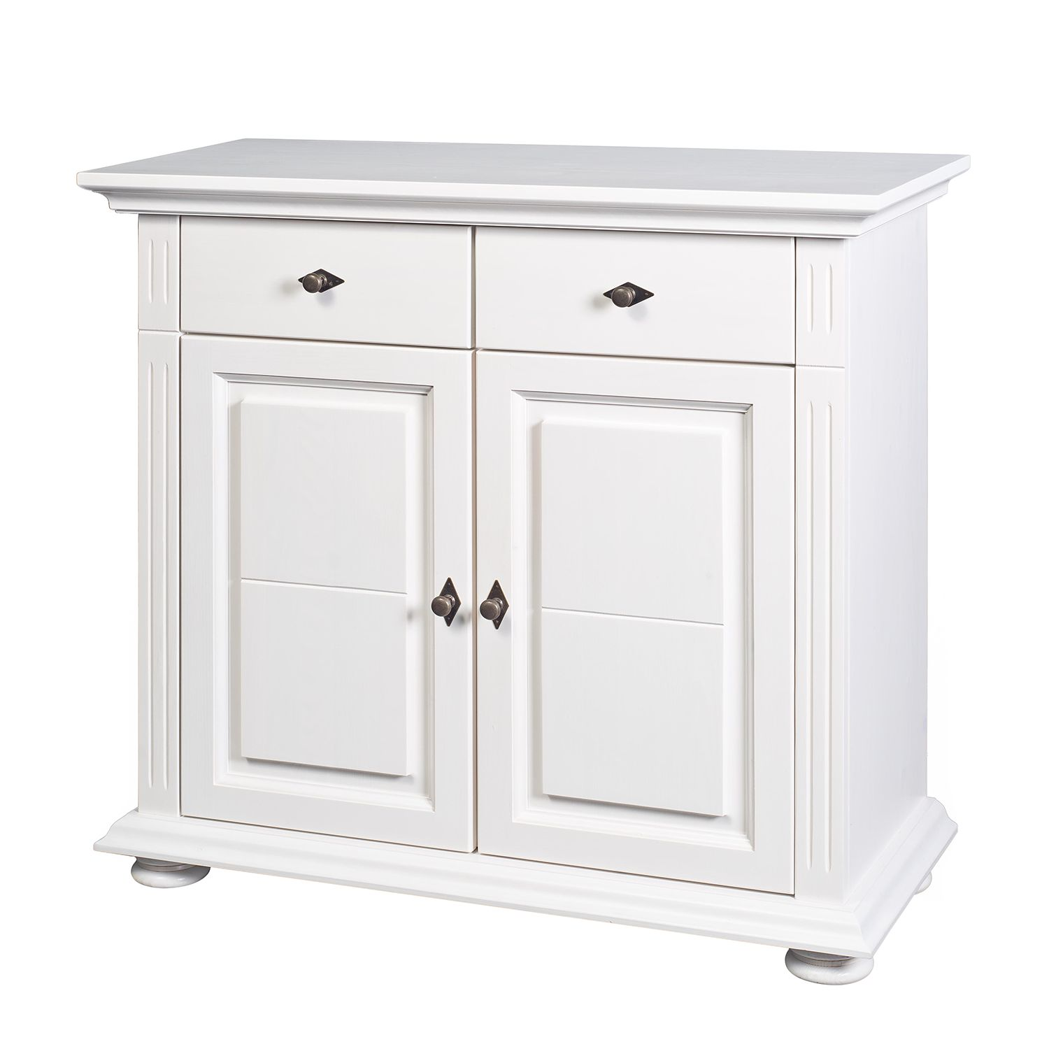 Commode Flinn III - Epicéa à noeuds massif Blanc, Ridgevalley