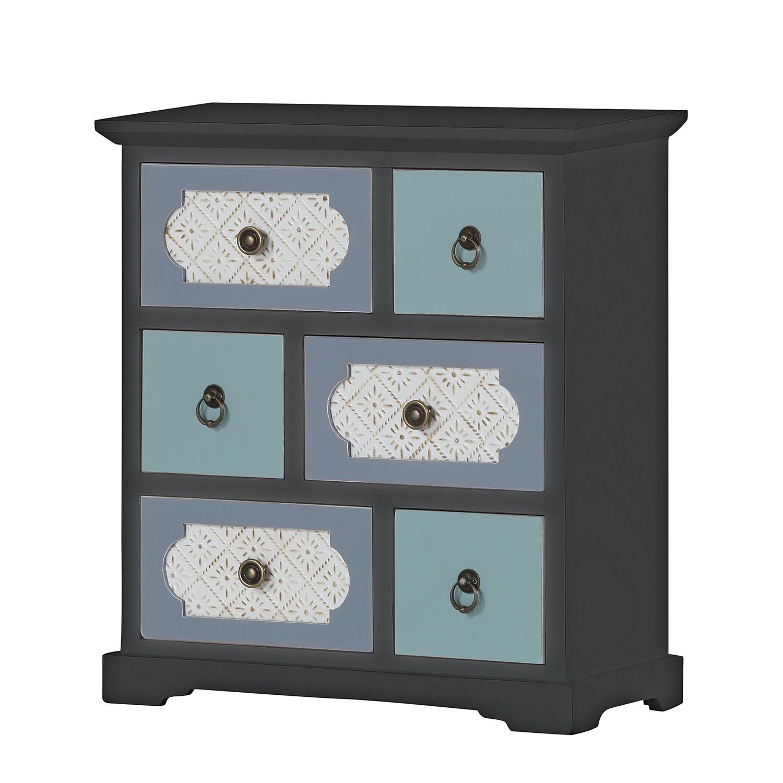 Cassettiera Chapleau - Parzialmente in legno massello di abete - Vintage nero, Maison Belfort
