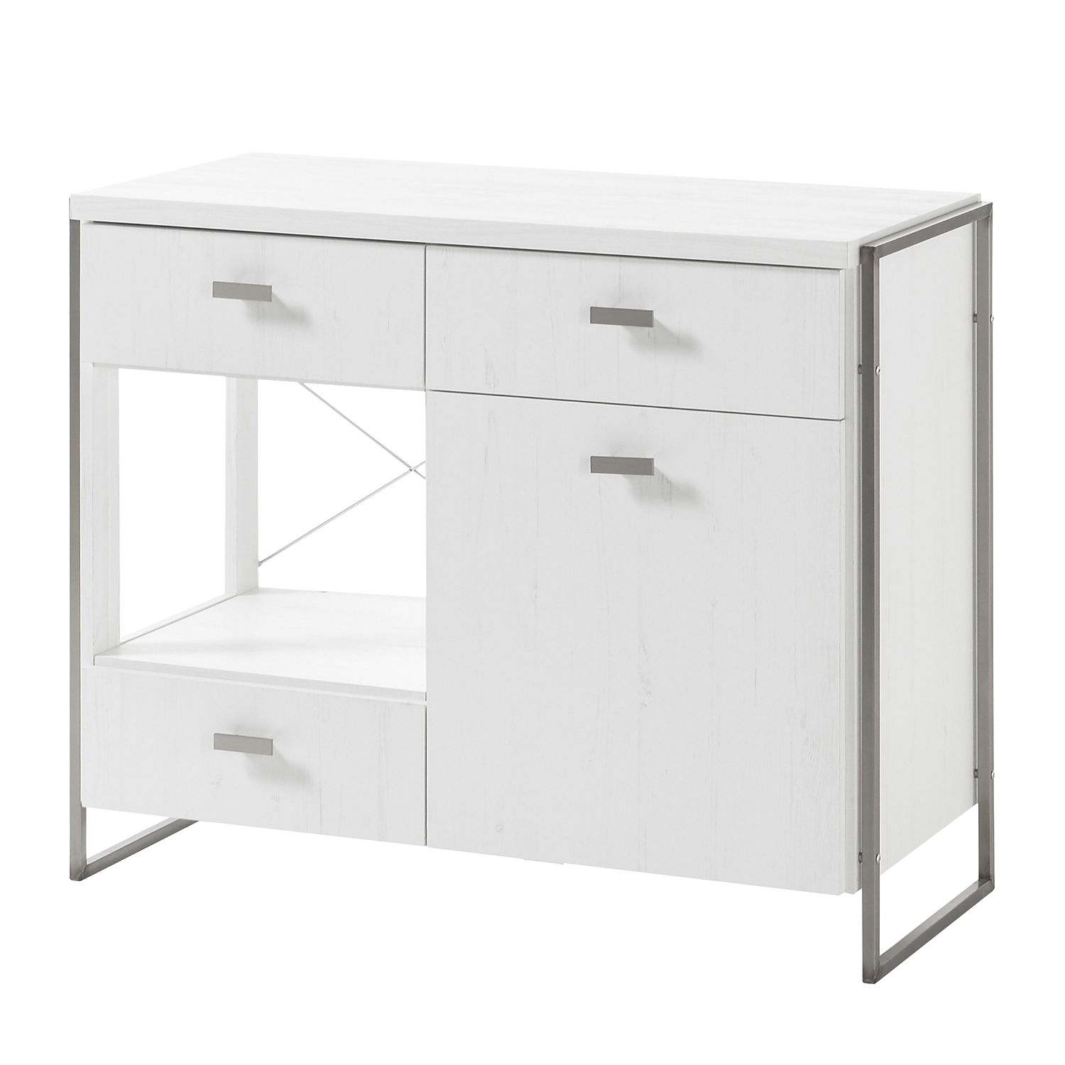 Commode Pryor - Imitation pin blanc / Argenté, Fredriks
