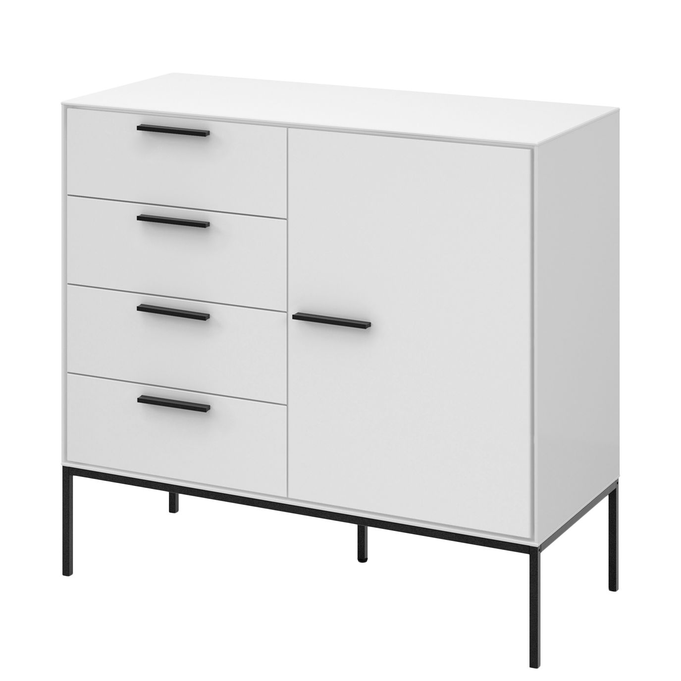 commode slimline iii blanc noir steens meubles en ligne. Black Bedroom Furniture Sets. Home Design Ideas