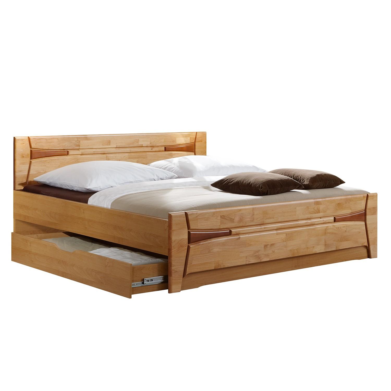 goedkoop Bed Florenz deels massief elzenhout 200 x 200cm Met bedlade Wiemann