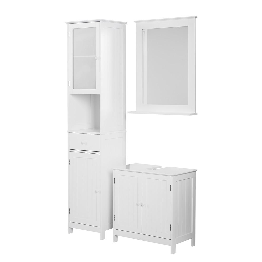 Ensemble Turin - Blanc - 3 éléments : meuble lavabo, armoire à miroir, armoire haute, Giessbach