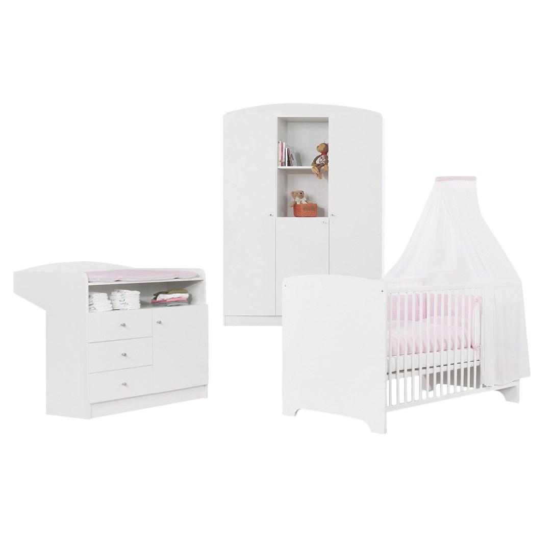 Ensemble complet Jil (3 éléments) - Pin partiellement massif - Lit pour bébé, table à langer et armoire à vêtements 3 portes - Vernis blanc, Pinolino