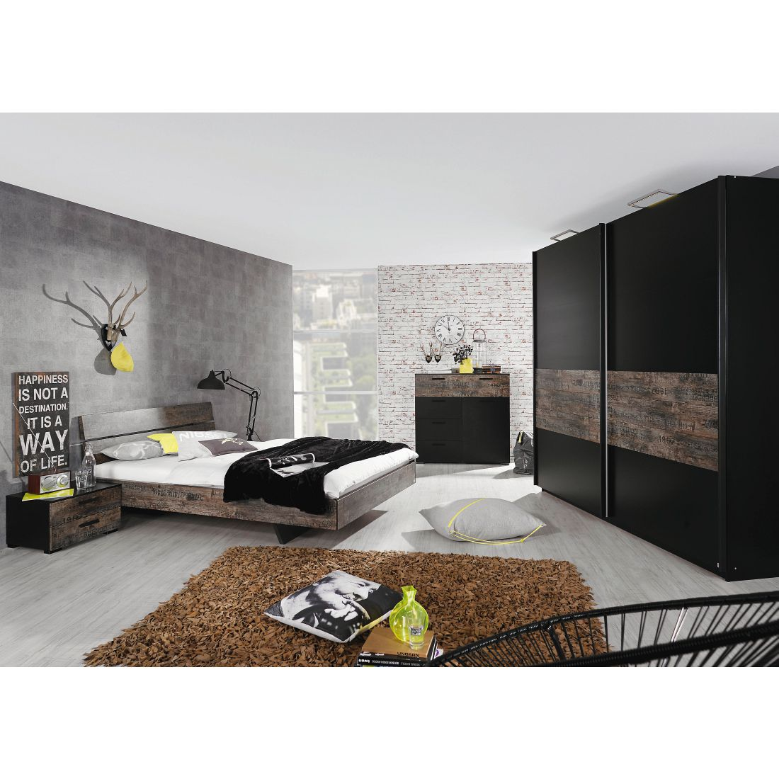 Ensemble complet Vintage Factory - Noir / Marron vintage - Surface de couchage du lit : 140 x 200 cm, Rauch Select