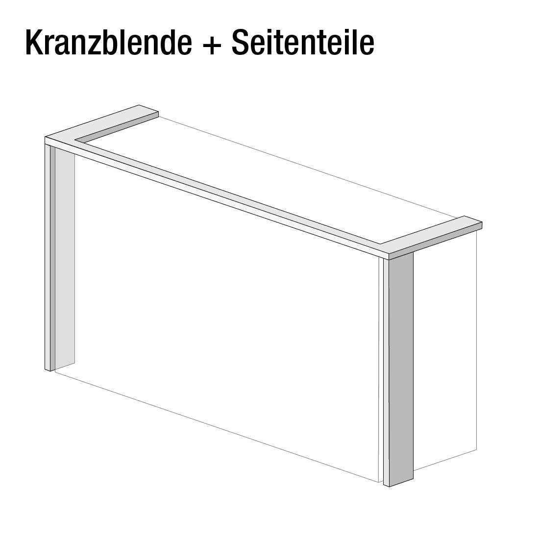 goedkoop Kroonlijst Skøp met zijgedeeltes Alpinewit 360cm 3 deurs 236cm Skop