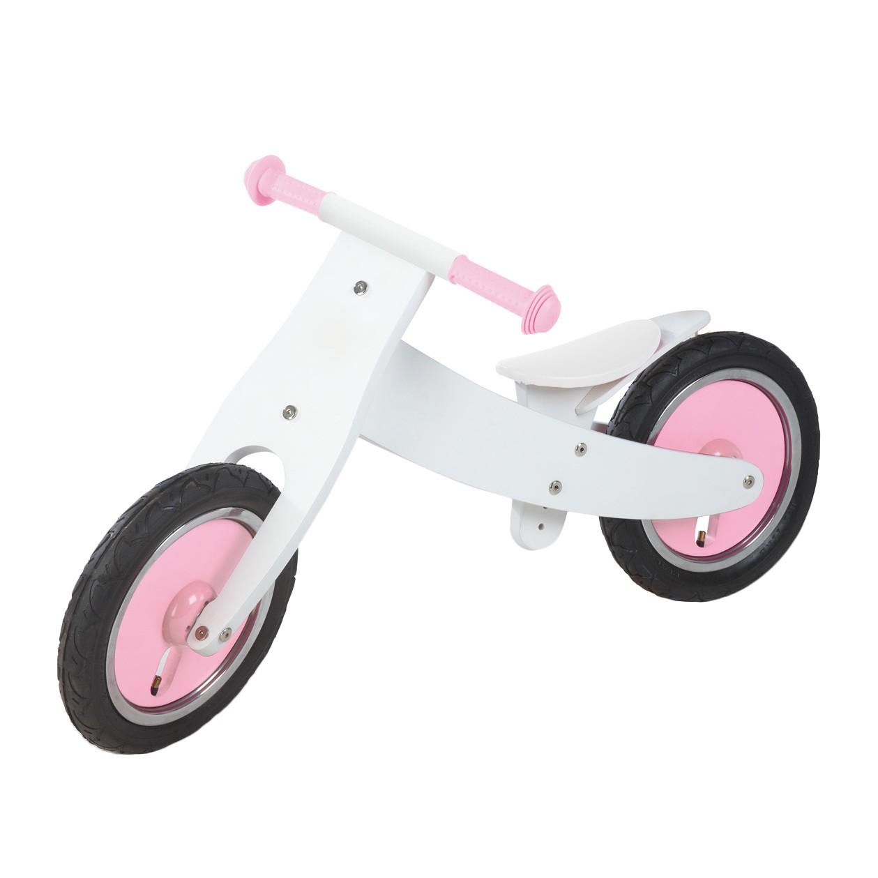 Laufrad Pinky - Birke massiv - Weiß / Rosa, Pin...