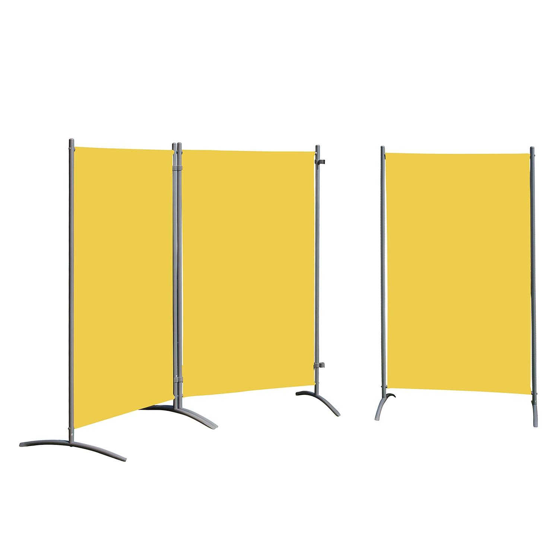 Paravents Nuare (3er-Set) - Webstoff / Stahl - Sonnengelb, Leco
