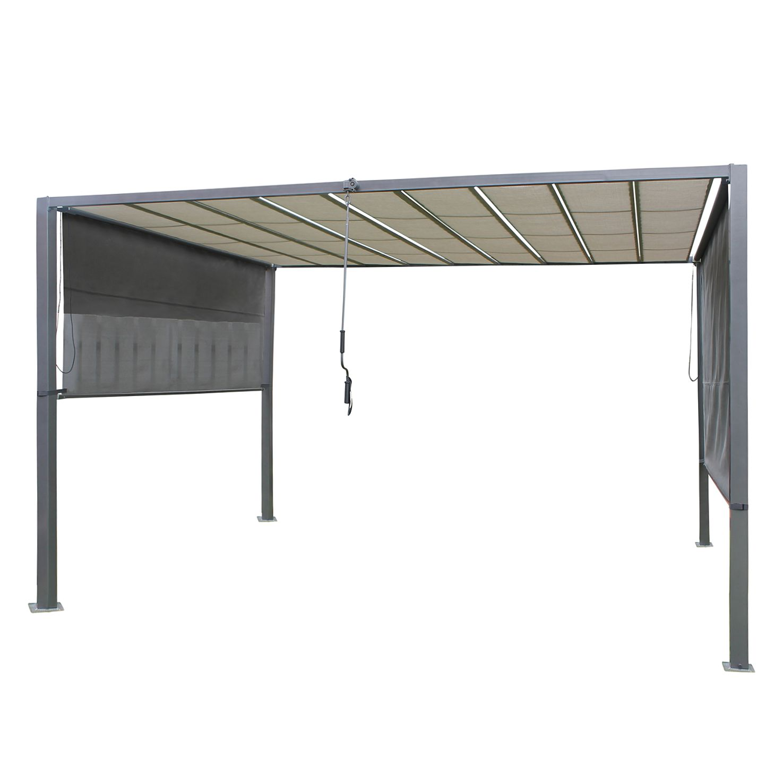 Pergola Cuara - Textilene / Stahl - Lichtgrau / Grau, Leco
