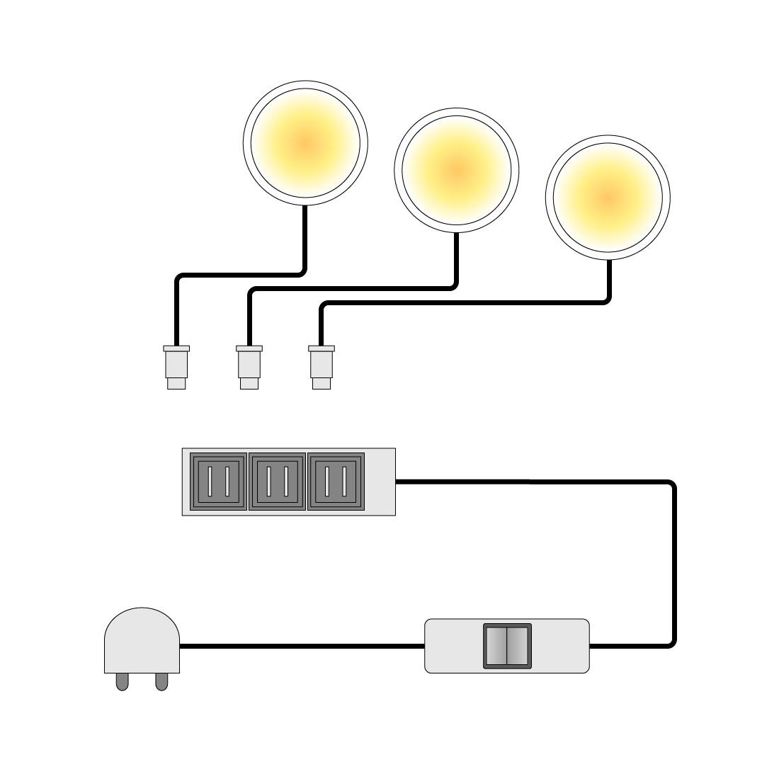 home24 LED-Powerspot Lopburi (3er-Set)
