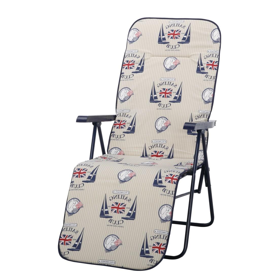 Liegestuhl Chiemsee (inkl. Polsterauflage) - Stahlrohr/Textil - Weiß/Blau-Beige Motiv, Best Freizeitmöbel