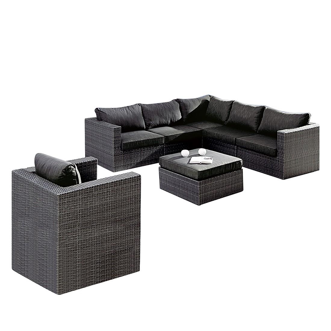 Lounge-Gruppe Aruba - (7-teilig) - Aluminium / Kunstfaser - Anthrazit, Best Freizeitmöbel