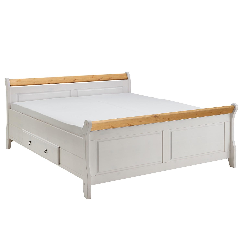 goedkoop Massief houten bed Cenan 200 x 200cm Wit loogkleurigGebeitst beukenhouten walnoot & gelakt grenenhout Maison Belfort